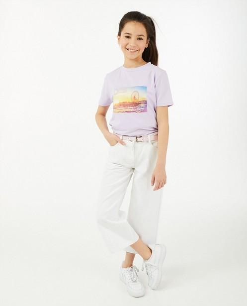 Witte denim culotte Peppa, 7-14 jaar - met riempje - Milla Star