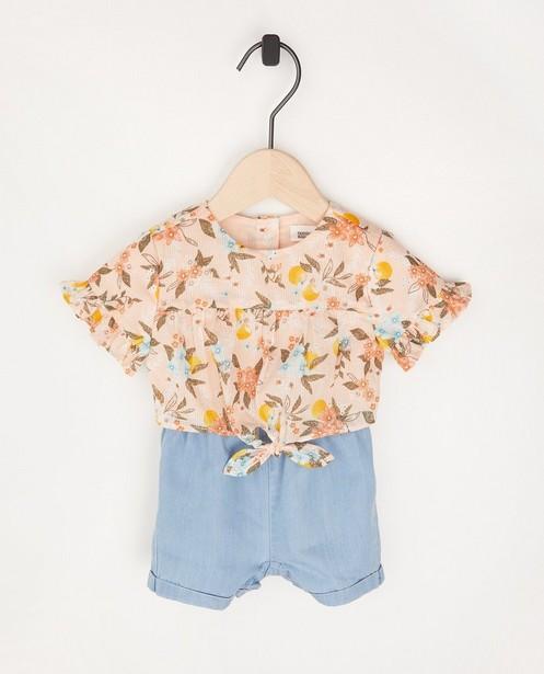 Combinaison à imprimé fleuri - et pantalon bleu - Cuddles and Smiles