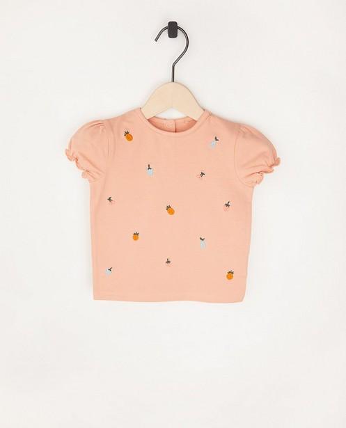 Roze T-shirtje met borduursel - van biokatoen - Cuddles and Smiles