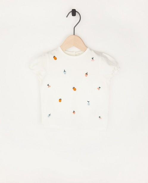 T-shirt blanc à broderie - en coton bio - Cuddles and Smiles