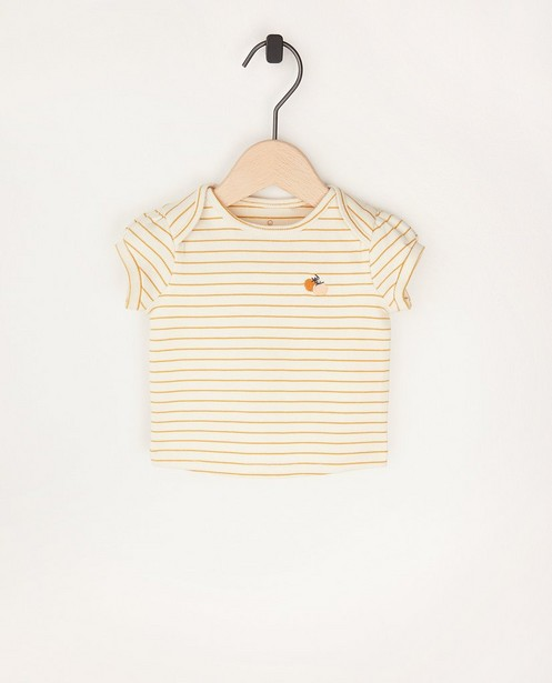Offwhite T-shirtje met strepen - en ribreliëf - Newborn