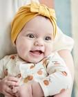Bonnet jaune avec un nœud - détail smocké - Newborn