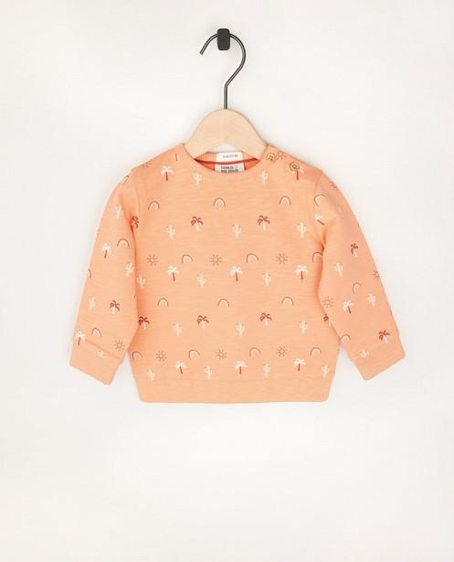 Oranje sweater van biokatoen - met allover print - Cuddles and Smiles
