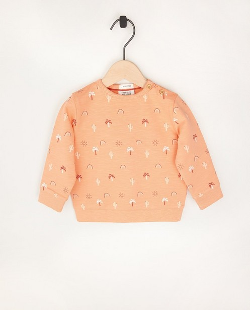 Sweat orange en coton bio - à imprimé intégral - Cuddles and Smiles
