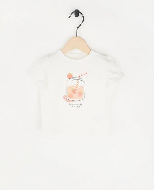 T-shirt blanc à imprimé pailleté - et inscription - Cuddles and Smiles