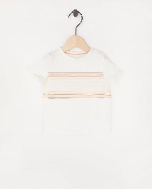 T-shirt blanc rayé - en coton bio - Cuddles and Smiles