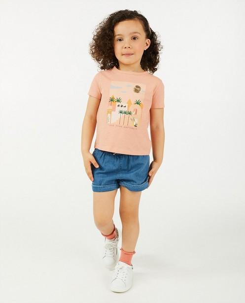 Biokatoenen T-shirt met print - roze - Cuddles and Smiles