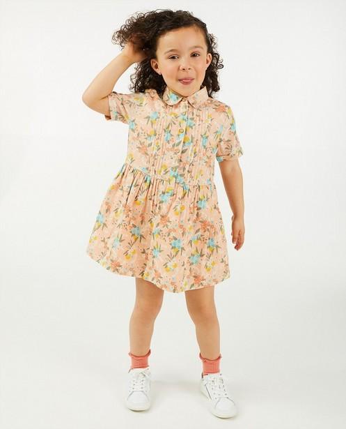 Zalmroze jurk met bloemenprint - allover - Cuddles and Smiles