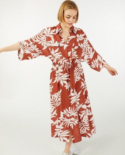 Bruine jurk met print Sora