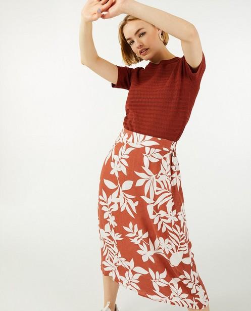 Bruine rok met print Sora - met A-lijn - Sora