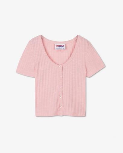 Cropped T-shirt met rib Steffi Mercie