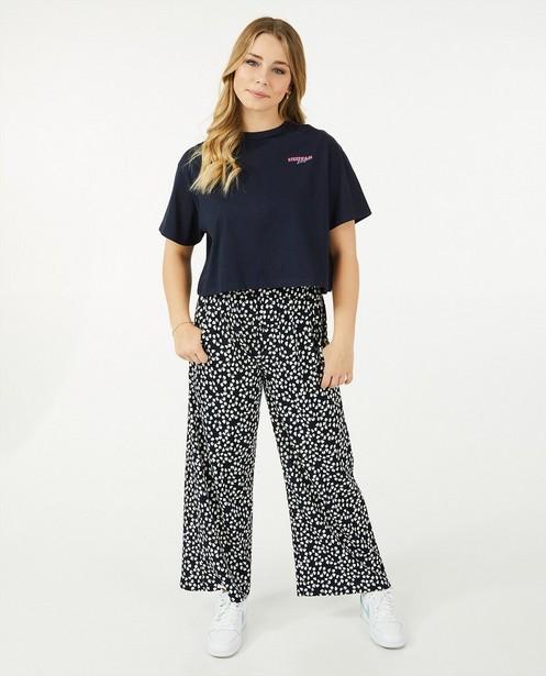 Cropped T-shirt in blauw Steffi Mercie - met logo - Steffi Mercie