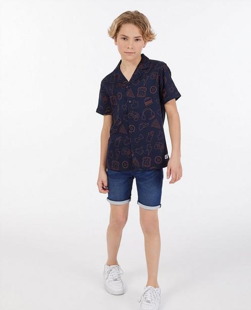 Donkerblauw hemd Dylan Haegens - met allover print - Dylan Haegens