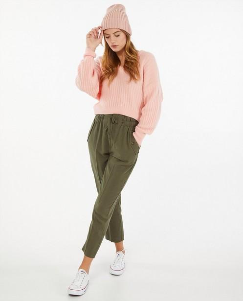 Roze trui met ribreliëf - fijne brei - Ella Italia