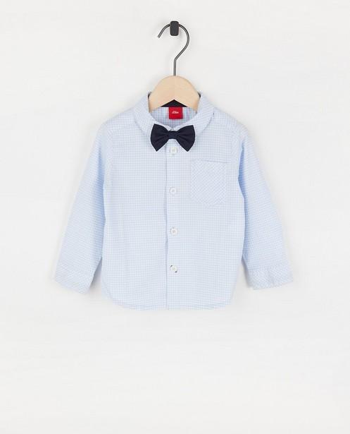 Blauw hemd met strikje s.Oliver - en ruitpatroon - S. Oliver