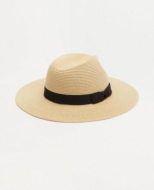 Beige hoed met zwarte band Pieces - met strik - Pieces