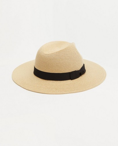 Beige hoed met zwarte band Pieces