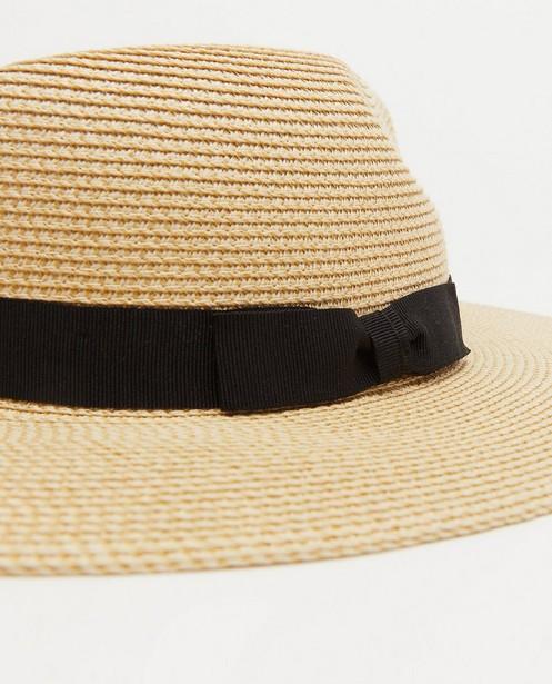 Bonneterie - Chapeau beige avec une bande noire Pieces