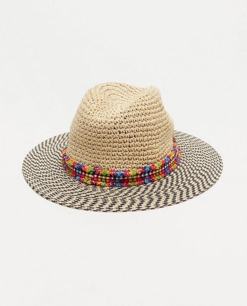 Chapeau beige à rayures Pieces - avec un bord coloré - Pieces