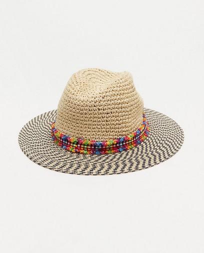 Chapeau beige à rayures Pieces