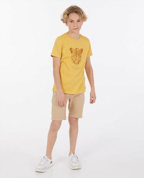 Beige T-shirt met print - van biokatoen - Fish & Chips