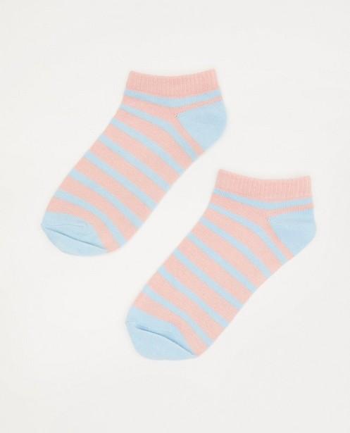 Gestreepte enkelkousjes Elisa Bruart - blauw en roze - Elisa Bruart