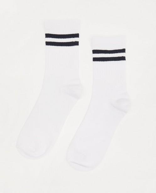 Chaussettes blanches rayées - et relief côtelé - JBC