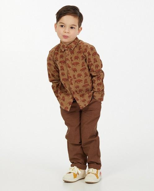 Ribfluwelen hemd met print - in bruin - Kidz Nation