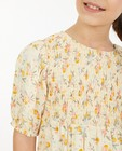 Kleedjes - Lichtgele jurk met bloemenprint
