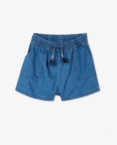 Blauwe short met kwastjes