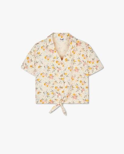 Lichtgeel hemdje met bloemenprint