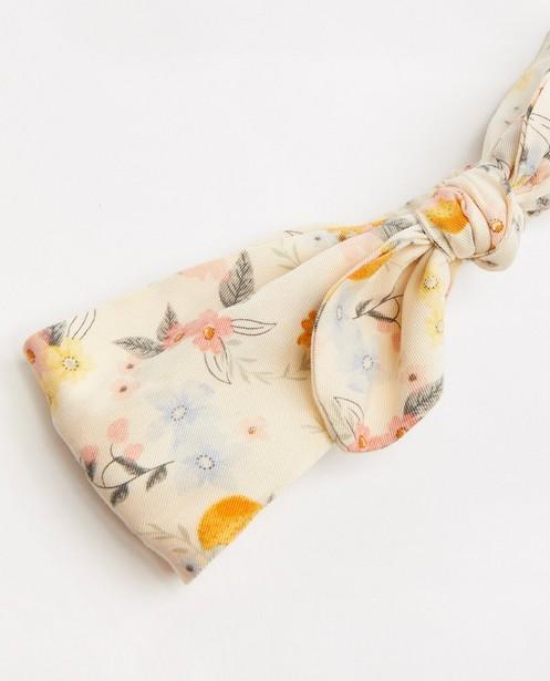 Breigoed - Lichtgele haarband met bloemenprint