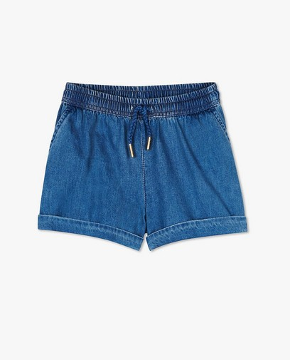 Short bleu foncé en chambray