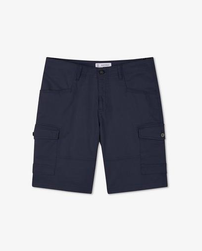 Bermuda bleu à poches à rabat