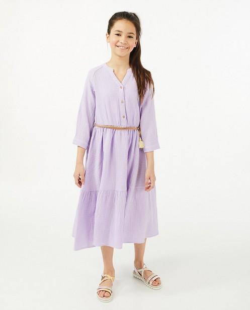 Lila jurk in tetrastof - met faux leather riem - Milla Star