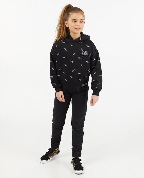 Zwarte hoodie met opschrift - met brushed fleece - Fish & Chips