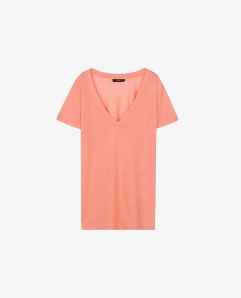 T-shirt corail en lyocell Sora - avec col en V - Sora