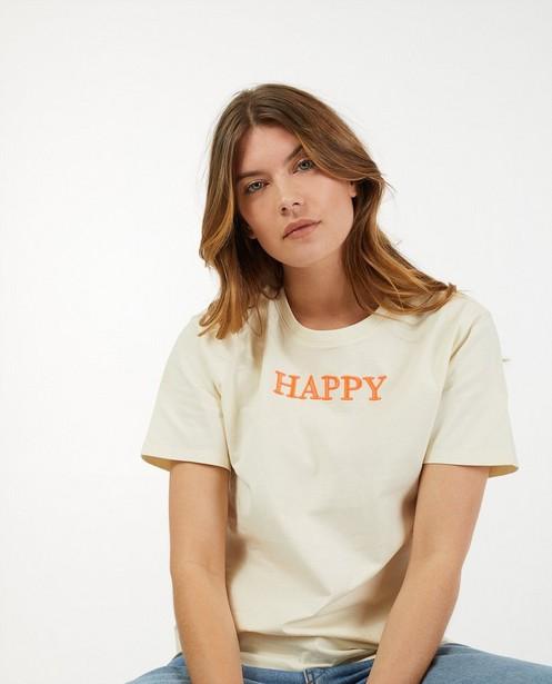 T-shirt écru à inscription Sora - «Happy» - Sora