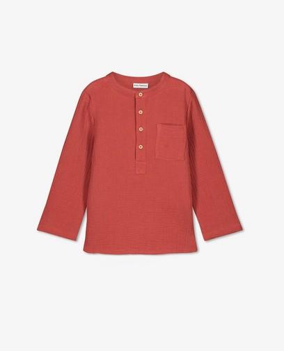 T-shirt à manches longues rouge en matière tétra