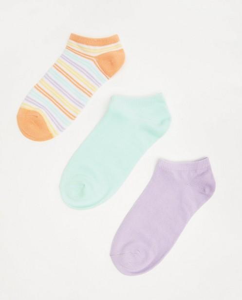 Lot de 3 paires de socquettes - unies et rayées - JBC