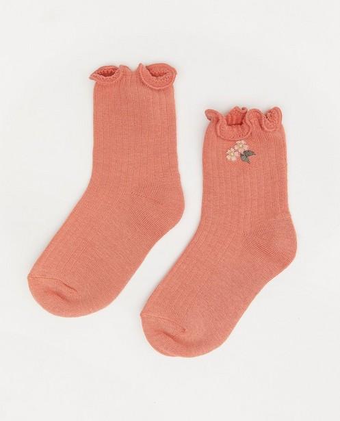 Chaussettes roses à petites fleurs - et volants - JBC