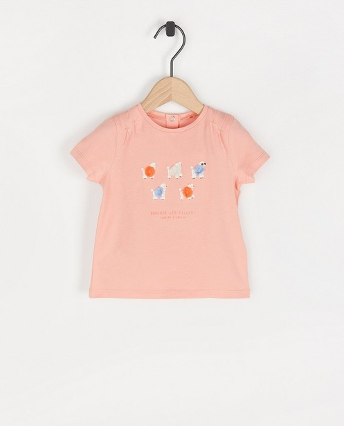 Biokatoenen T-shirt met vissenprint - met plooitjes - Cuddles and Smiles