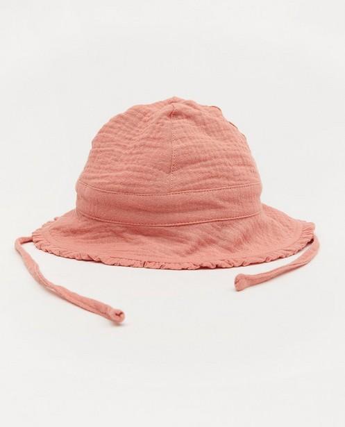 Roze zonnehoedje van tetrastof - met ruffels - Cuddles and Smiles