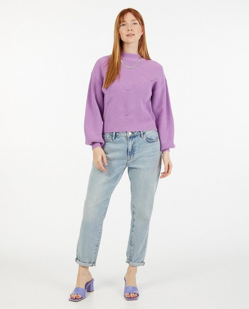 Pull mauve à motif ajouré Sora - fin tricot - Sora