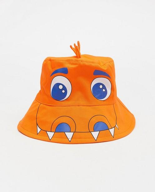 Oranje zomerhoed met print - krokodil of draak - JBC