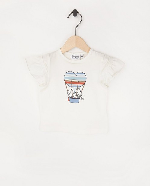 Offwhite T-shirt met print Bumba - met ruches - Bumba