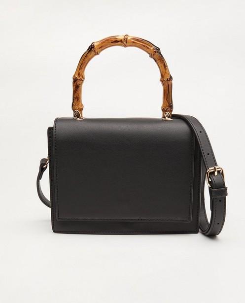 Zwarte handtas met houtlook - klein model - JBC