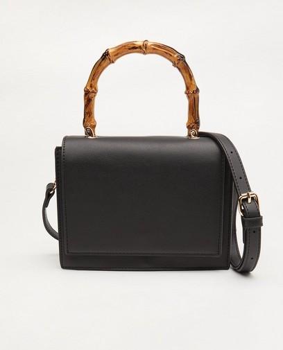 Zwarte handtas met houtlook