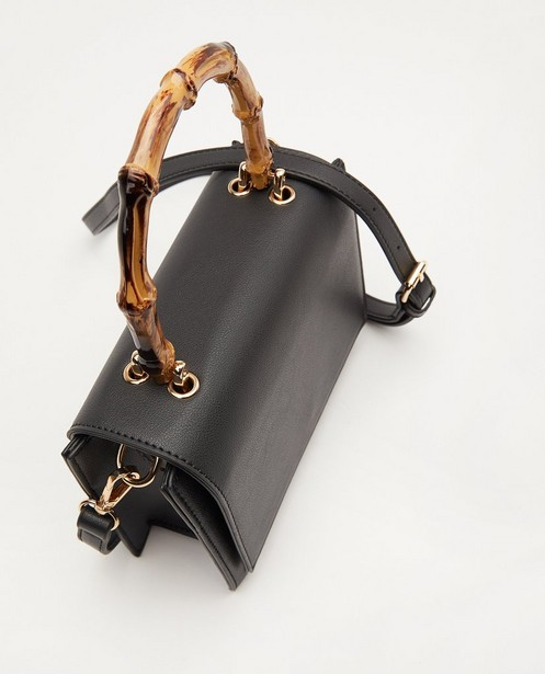 Handtassen - Zwarte handtas met houtlook