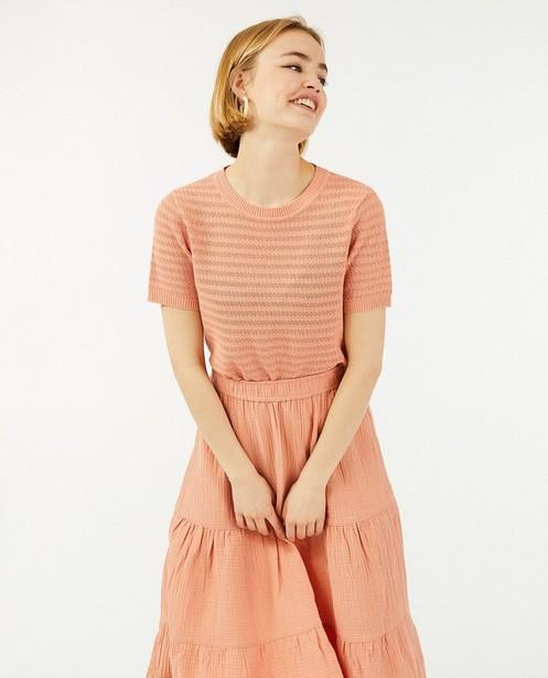 Top rose en fin tricot Sora - à rayures - Sora